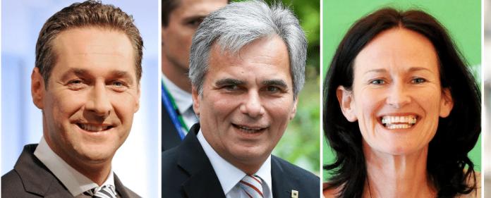 Die Bildkombo zeigt die Spitzenkandidaten für die Nationalratswahl inb Östrereich: den FPÖ-Spitzenkandidaten Heinz Christian Strache (l-r), Bundeskanzler Werner Faymann (SPÖ), die Grünen-Vorsitzende Eva Glawischnig.