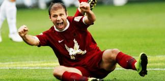 Goekdeniz Karadeniz, der Stürmer vom russichen Fußballclub Rubin Kazan, freut sich nach einem Treffer.
