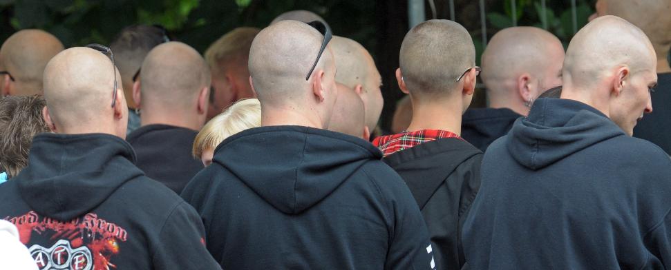 Neonazis gehen zu einem Rockkonzert - dpa