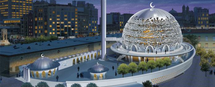 Das Abbild der geplanten Moschee auf dem Taksim-Platz.