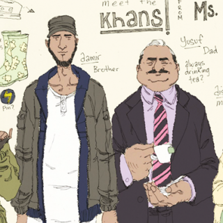 Ein neues Marvel Comics Cover zeigt Ms Marvel als Kamala Khan (2nd l), die 16-jährige Muslimin aus Pakistan.