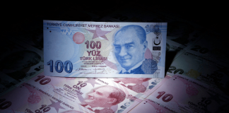 Mehrere Banknoten der türkische Lira.