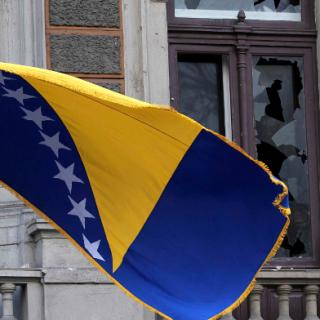 Die Flagge von Bosnien.