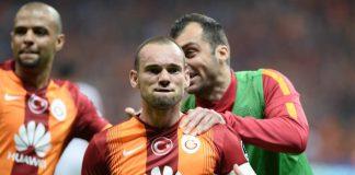Galatasaray-Spieler Wesley Sneijder freut sich über sein Tor gegen Gençlerbirliği.