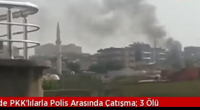 Über der südostanatolischen Kreisstadt Silopi steigt am Freitag schwarzer Rauch auf. Zuvor gab es in zwei Nachbarschaften bewaffnete Zusammenstöße zwischen türkischen Sicherheitskräften, kurdischen Jugendlichen und Mitgliedern der YDG-H.