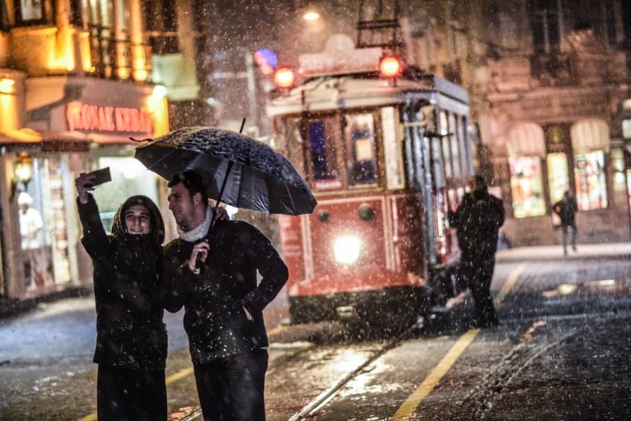 Die berühmte Straßenbahn auf der Istiklal Caddesi
